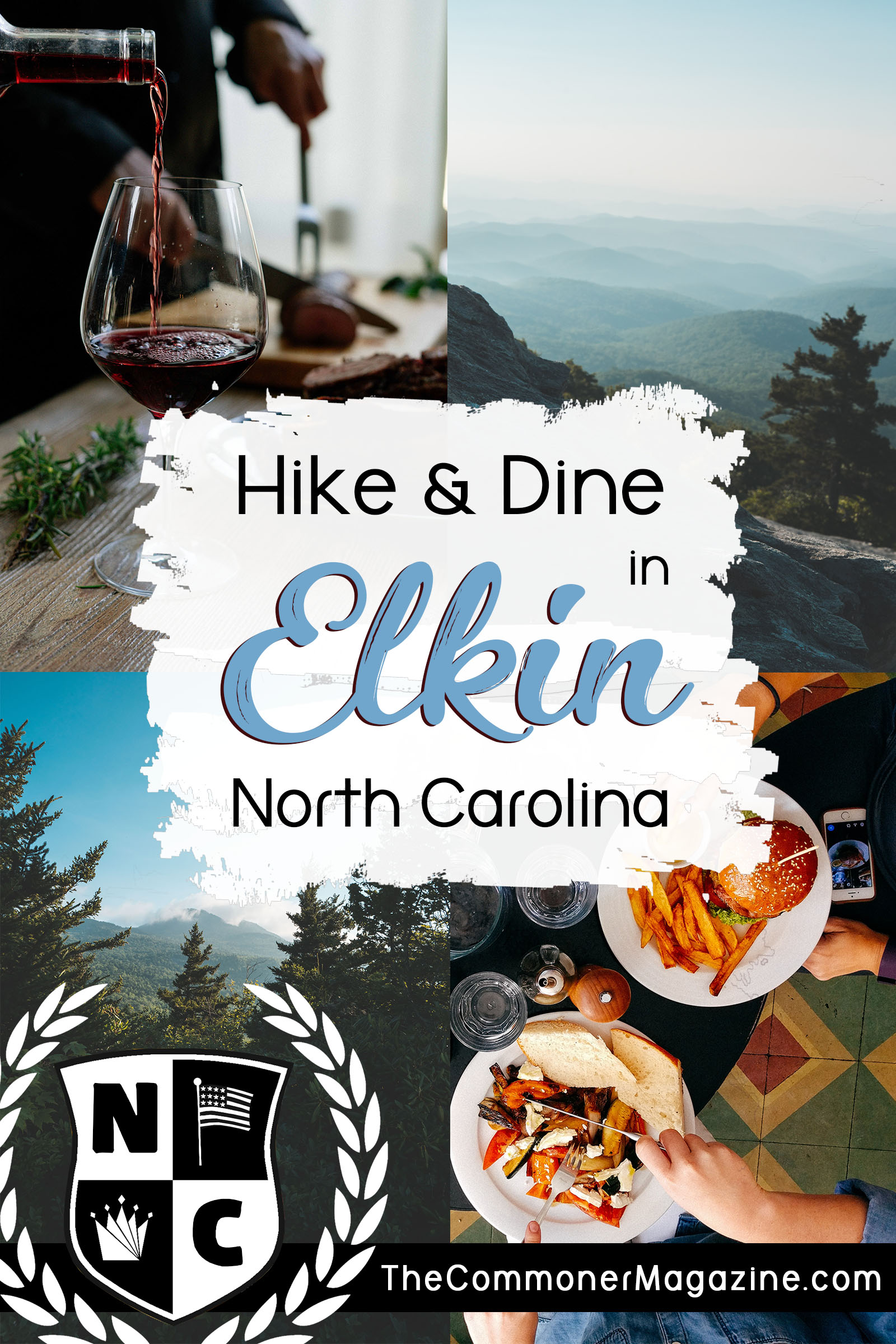 Go from the hiking trail to the wine trail in the Yadkin Valley in Western North Carolina. There's plenty of outdoor activities available no matter the season. If you prefer the indoors there's plenty of fine shopping and dining to be had in the historic town of Elkin. The Commoner Magazine, full of USA travel tips from local experts. #USAtravel #NorthCarolina #Thingstodoinnorthcarolina #Elkin #ElkinNC #YadkinValley #Winetrail #hiking #mountains